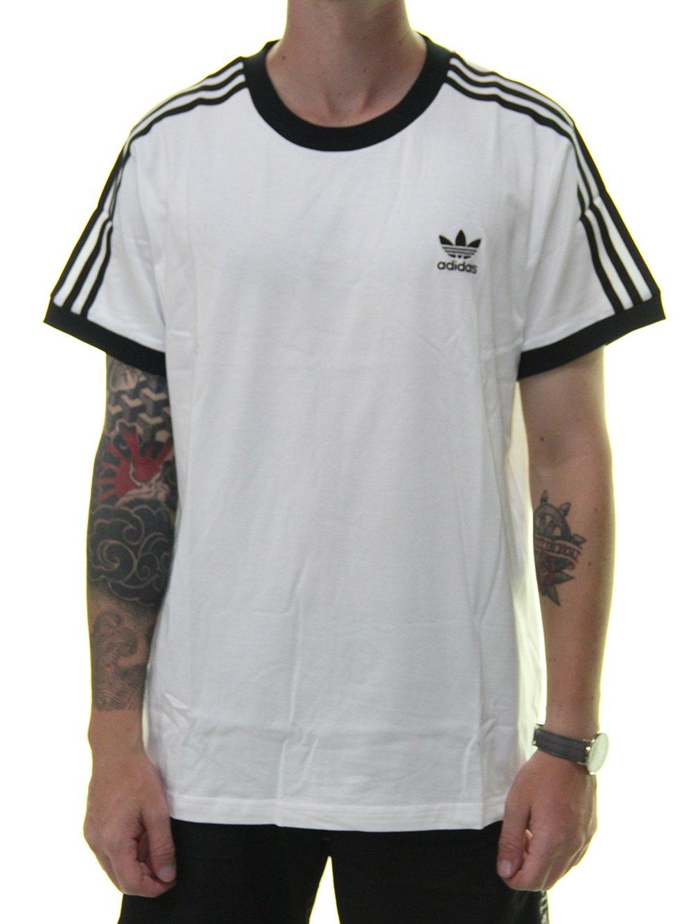 12b5d692eef Camiseta Masculina Adidas 3 Stripes Manga Curta - Preto Branco ...