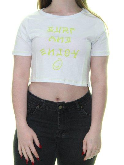 Blusinha Feminina Hurley Surf And Enjoy Manga Curta - Branco