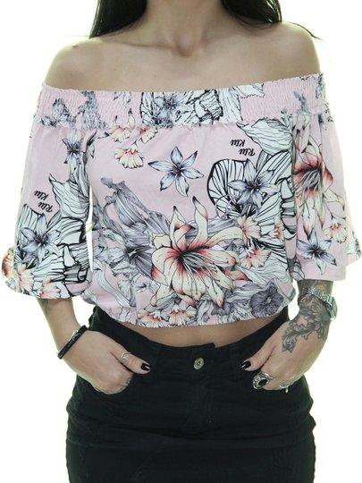 Regata Feminina Riu Kiu Cropped Ombro a Ombro Stars - Rosa Floral