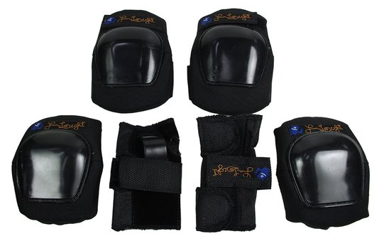 Kit Proteção Fun Light Infantil Joelhera Cotoveleira Wrist Guard - Preto