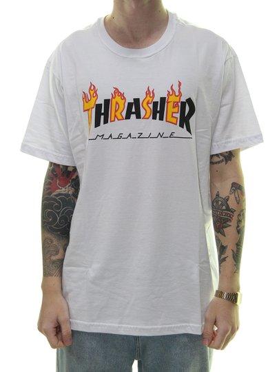 Camiseta Masculina Thrasher Flame Magazine II Manga Curta - Branco