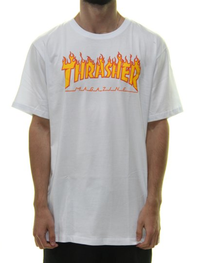 Camiseta Masculina Thrasher Flame Manga Curta - Branco