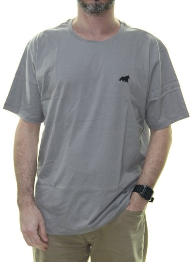 Camiseta Masculina Gorillas Tog Básica Bordada Manga Curta - Cinza