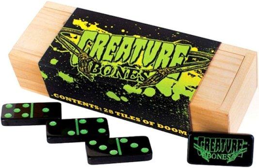 Domino Creature Set 28 Peças Bones Preto Marcacção Verde
