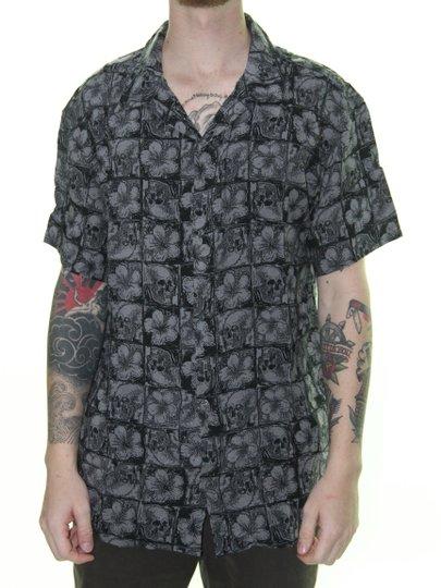 Camisa Masculina Quiksiver The OG Camp Fluid Manga Curta - Preto