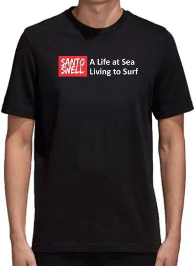 Camiseta Santo Swell Black Life Sea Surf de Algodão Estampada Manga Curta