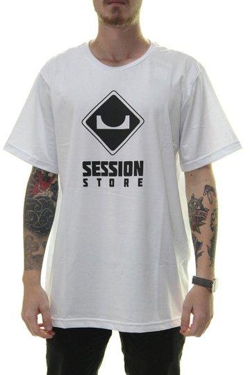 Camiseta Masculina Session Logo Clássico Manga Curta Estampada Gola Careca - Branco