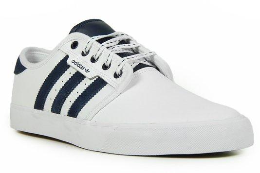 Tênis Masculino Adidas Seeley Cabedal em Couro - White/Conavy