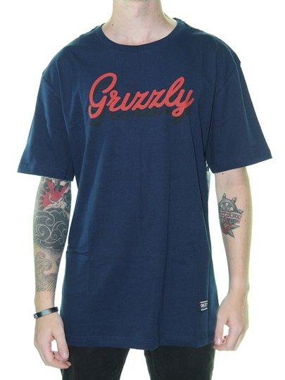 Camiseta Masculina Grizzly Cursive Manga Curta - Marinho