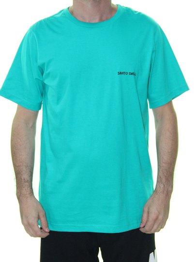 Camiseta Masculino Santo Swell Script Algodão Estampada Manga Curta - Turqueza