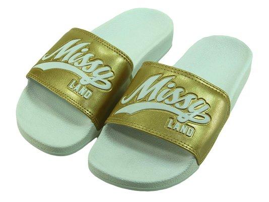 Chinelo Feminino Missy Gold Slide -  Branco/Dourado