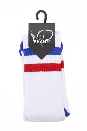 Meia Phante Socks Classica Cano Longo  - Branco/Azul/Vermelho