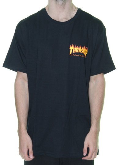 Camiseta Masculina Thrasher Flame Bottom Manga Curta - Preto