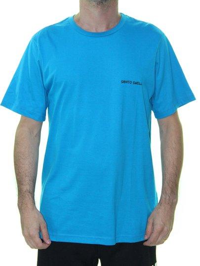 Camiseta Masculino Santo Swell Script Algodão Estampada Manga Curta - Azul Royal
