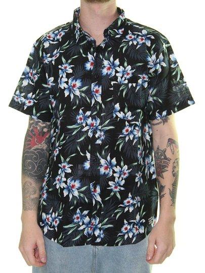 Camisa Masculina Surfly Coqueiros Manga Curta - Preto