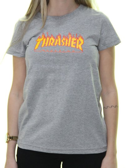 Blusinha Feminina Thrasher Mini Flame Manga Curta - Cinza Mesclado