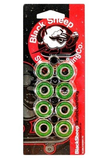 Kit com 8 Rolamentos de Skate e 4 Espaçador Black Sheep Abec 9
