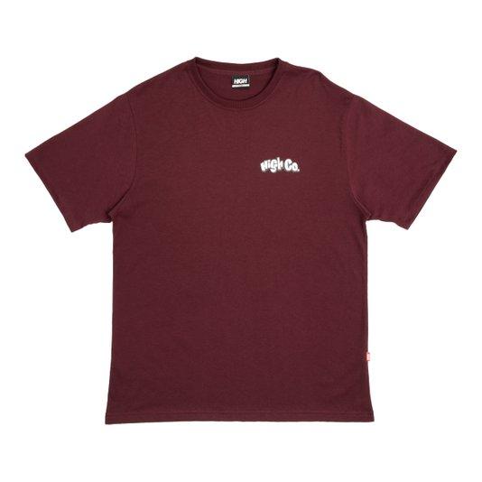 Camiseta Masculina High Beach Rat Manga Curta Estampada - Bordô