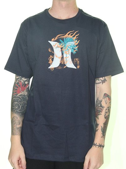 Camiseta Masculina Hurley Silk Surf Manga Curta Estampada - Marinho