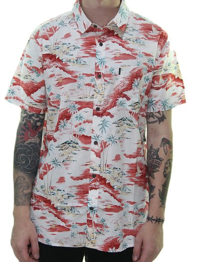 Camisa Masculina Rip Curl Shipwrecks Manga Curta Estampadada - Branco/Bordô