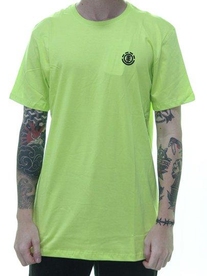 Camiseta Masculina Element Logo Basic Manga Curta - Verde Neon