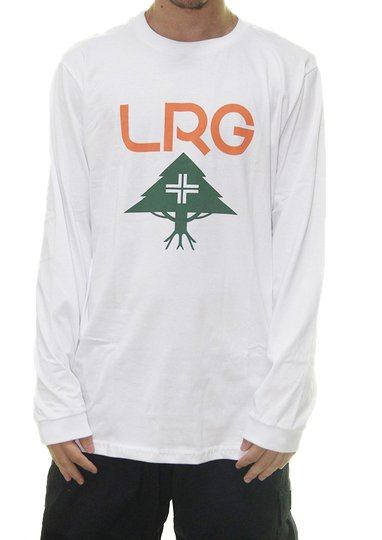 Camiseta Masculina LRG Stack Manga Longa Estampada - Branco