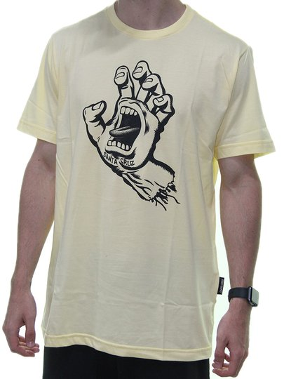 Camiseta Masculina Santa Cruz Screming Hand 1 Color Manga Curta Estampada - Amarelo