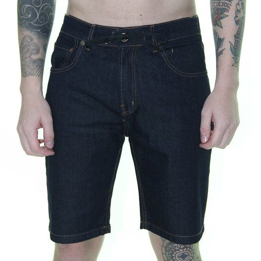 Bermuda Maculina Quiksilver Skate Denim Jeans - Azul Marinho