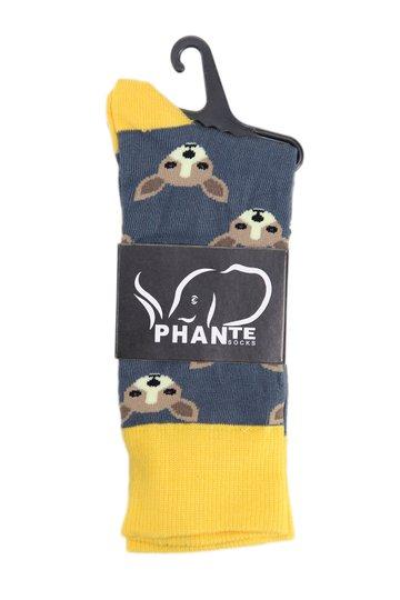 Meia Phante Socks Cara de Canguru Cano Longo  - Marinho/Amarelo