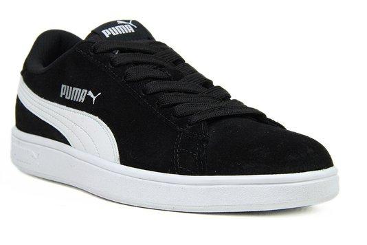 Tênis Masculino Puma Smash V2 - Black/White