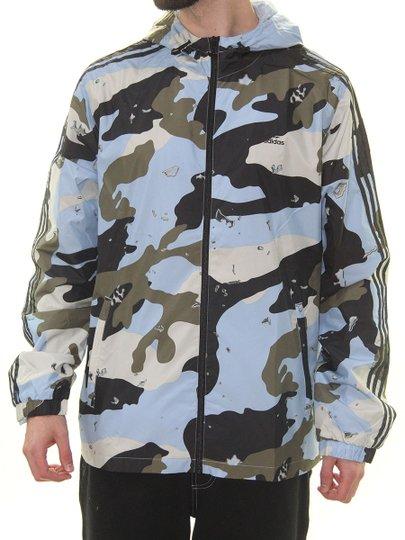 Jaqueta Masculina Adidas Quebra Vento Camo Wb Fz Manga Longa com Capuz - Camuflado