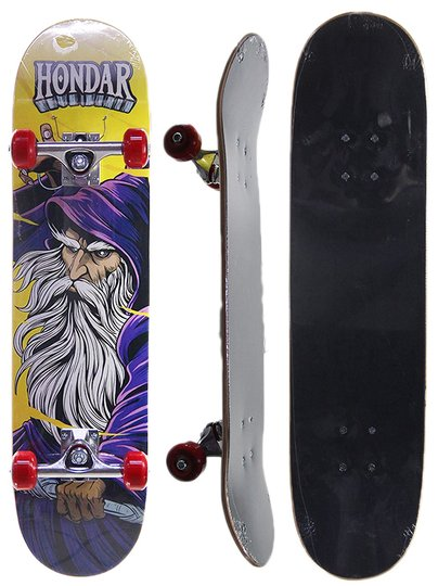 Skate Iniciante Hondar Serie Mago Poison 8.0 X 31.0 - Amarelo/Vermelho