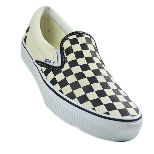 Tênis Masculino Vans Classic Slip On - Checkerboard/White