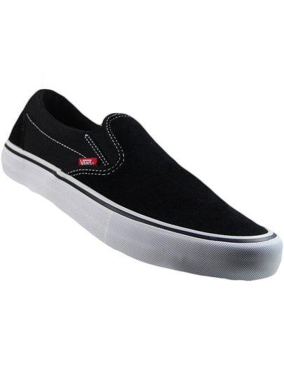 Tênis Vans masculino Classic Slip On Pro - Black/White/Gum