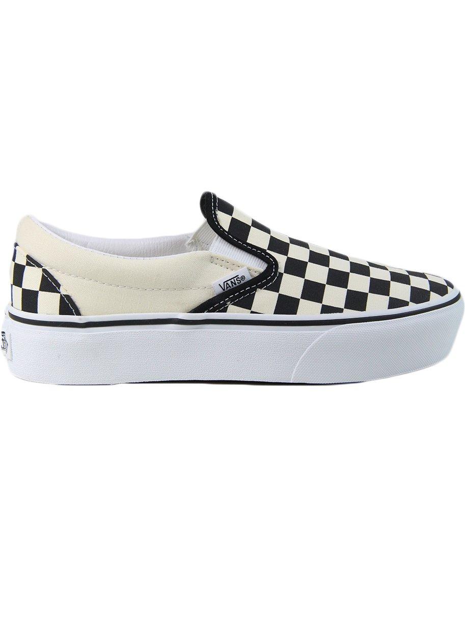 Tênis Feminino Vans Classic Slip On Platform - Checkerboard/White
