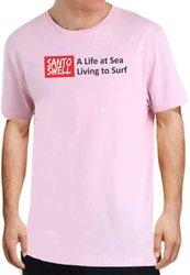 Camiseta Santo Swell Pink Life Sea Surf de Algodão Estampada Manga Curta
