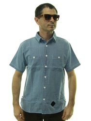 Camisa Masculina Hocks Chamb Manga Curta Cor Azul
