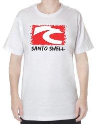 Camiseta Santo Swell Branco Classica Logo de Algodão Estampada com Manga Curta