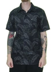 Camisa Masculina Hurley Eletric Manga Curta - Preto Folhas