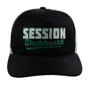 Boné Session Skateboard Unissex Snapback Trucker Aba Curva - Preto/Branco