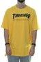 Camiseta Masculina Thrasher Flame Manga Curta Gola Careca -Amarelo Queimado